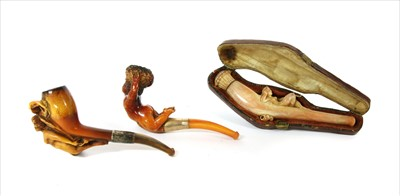 Lot 166-Three erotic meerschaum pipes