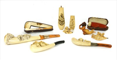 Lot 165-Nine meerschaum pipes and cheroot holders