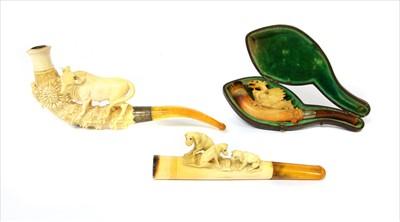 Lot 164-Three meerschaum cheroot holders or pipes