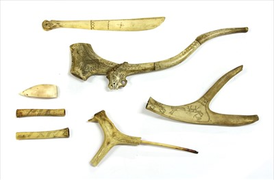 Lot 178-A collection of Scandinavian antler pipes and objects