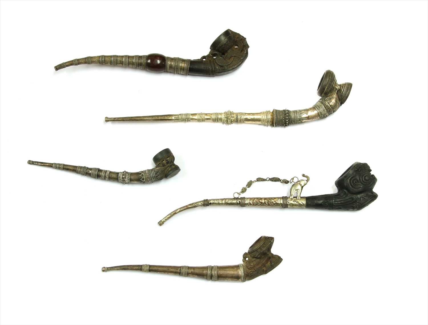 Lot 3-Five Burmese clay-mounted pipes