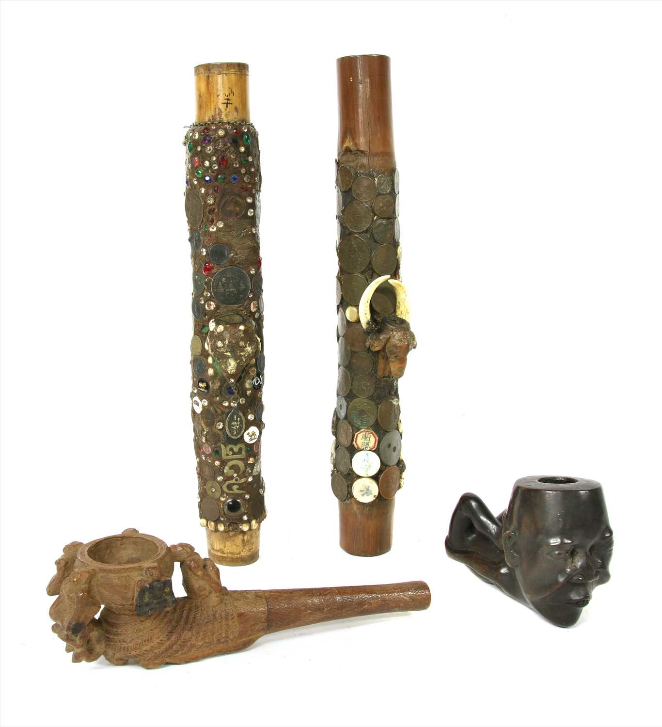 Lot 8-Two Thai bamboo and coin-mounted pipes