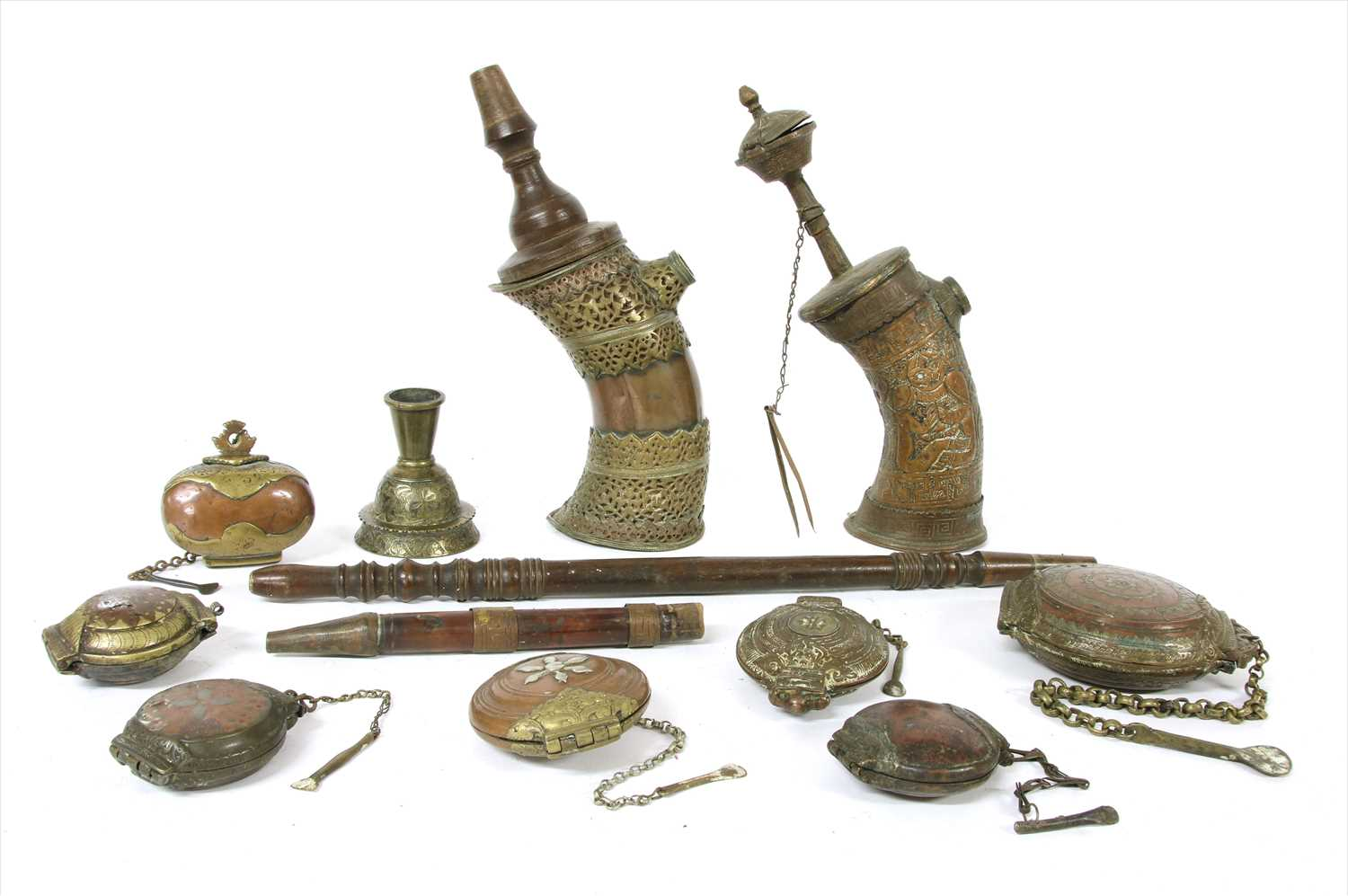 Lot 1-Two Northern Indian brass and copper water pipes