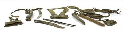 Lot 13-Three Tibetan leather tinder pouches or chuckmucks