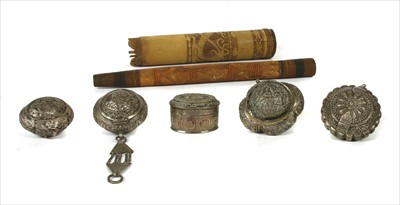Lot 6-Five Indian silver tobacco pouches