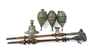 Lot 16-Two Persian silver and enamelled narghile water pipes