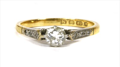 Lot 9-A gold single stone diamond ring