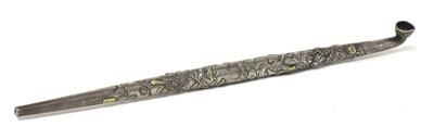 Lot 19-A Japanese silver two-part kiseru pipe