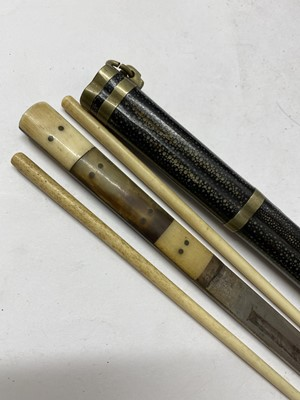 Lot 23-Two Japanese shagreen ivory and brass-mounted chopstick cases