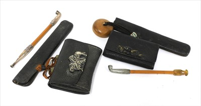 Lot 31-Two Japanese smoking sets, kiseruzutsu (pipecase) with kiseru and tabako-ire (tobacco pouch)
