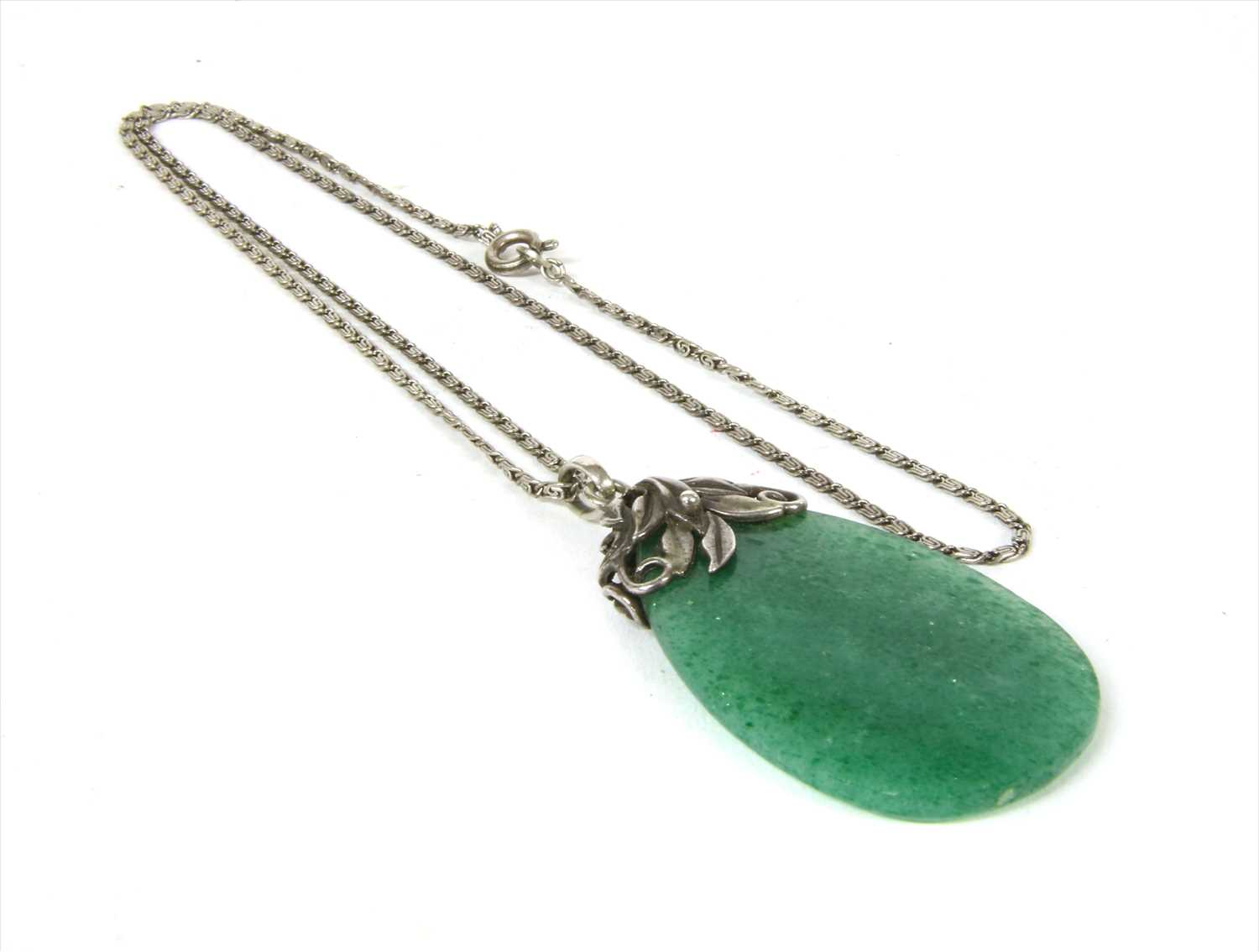 Lot 19-An Arts & Crafts silver aventurine quartz pendant