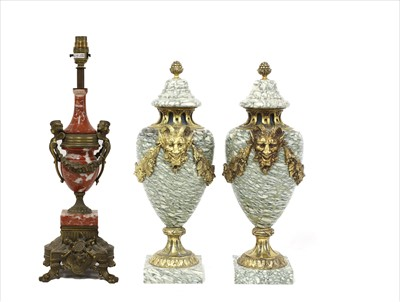 Lot 42-A pair of neoclassical-style veined marble cassolettes