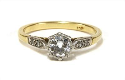 Lot 21-A gold single stone diamond ring