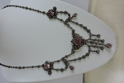 Lot 1-A Victorian pink and white paste swag and fringe necklace