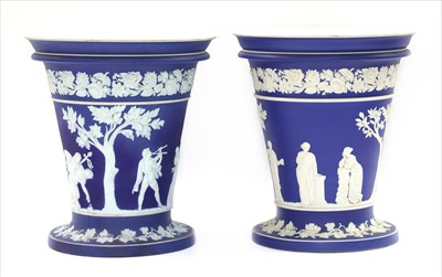 Lot 15-An large pair of Wedgwood jasperware vases