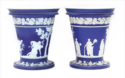 Lot 15-An large pair of Wedgwood jasperware vases