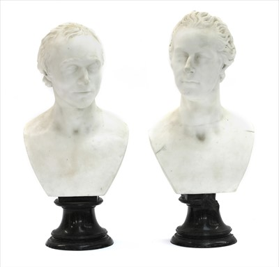 Lot 30-A pair of marble busts