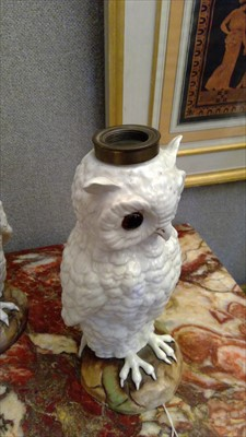 Lot 14-A pair of pottery owl table lamp bases