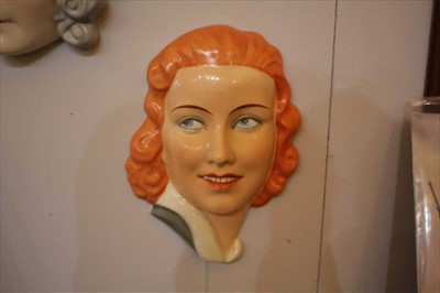 Lot 363 - Five Art Deco Czechoslovakian pottery wall masks