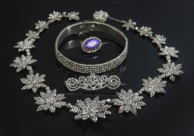 Lot 7-An early Victorian cut steel graduated star necklace, c.1840