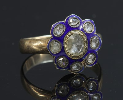 Lot 18-A rose cut diamond and enamel cluster