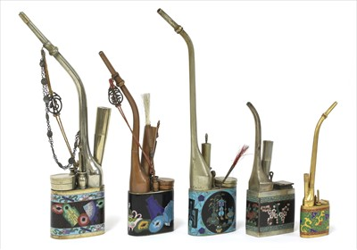 Lot 45-A collection of five Chinese cloisonné water pipes