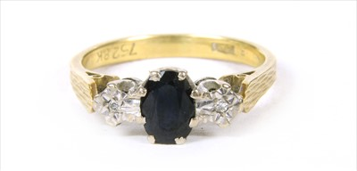 Lot 12-A gold sapphire and diamond ring