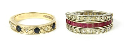 Lot 11-A 9ct gold sapphire and diamond half eternity ring