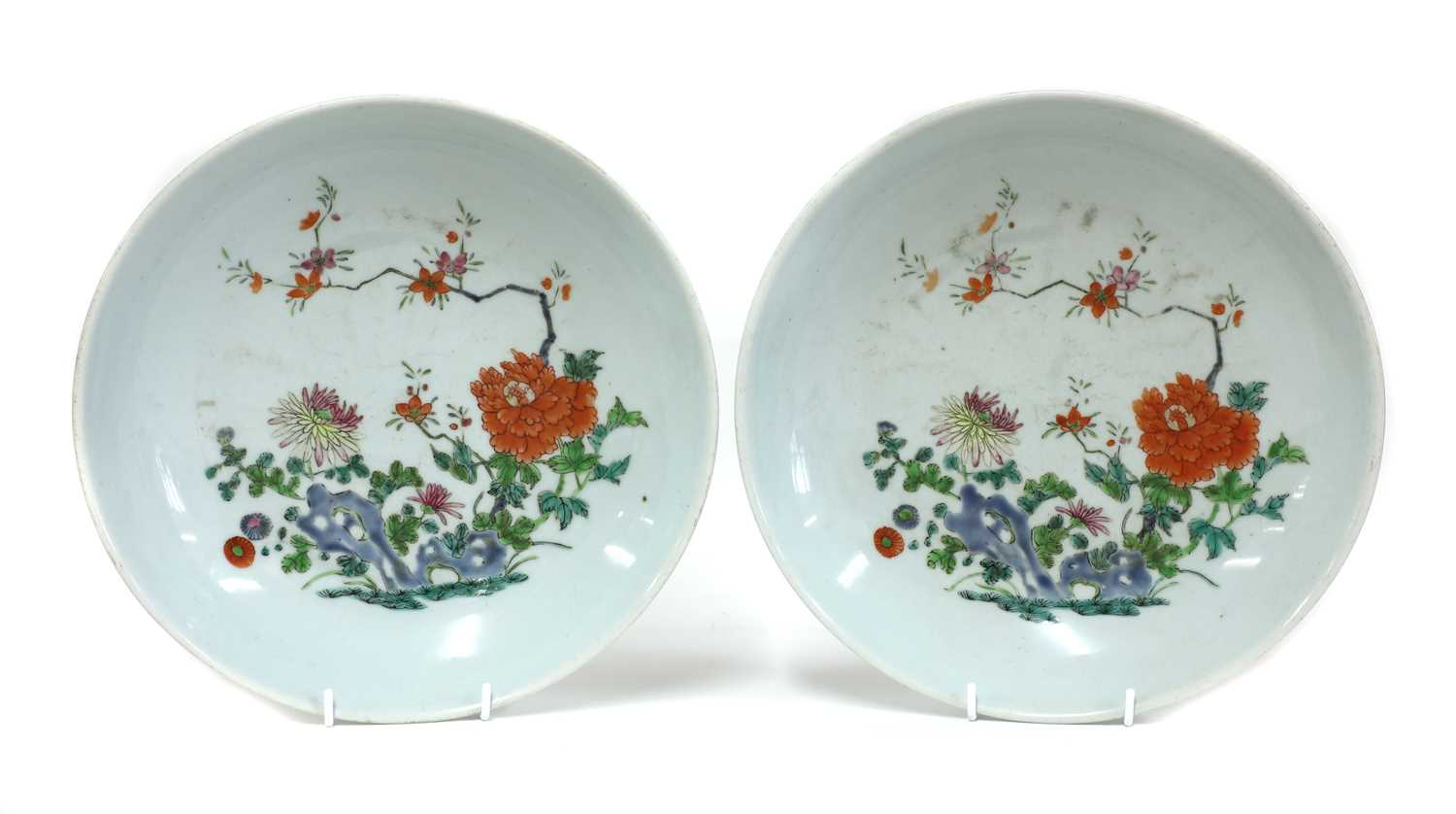 Lot 17-A pair of Chinese famille rose chargers