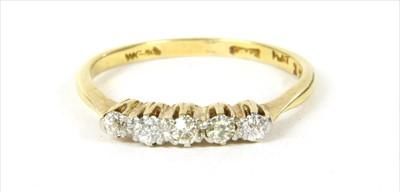 Lot 10-A gold five stone diamond ring