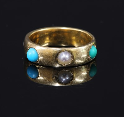 Lot 7-A gold shallow 'D' section band ring