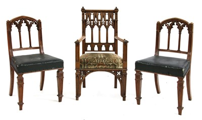 Lot 79 - A pair of 'Gothic' chairs