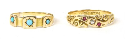 Lot 6-A Victorian 18ct gold diamond and ruby ring