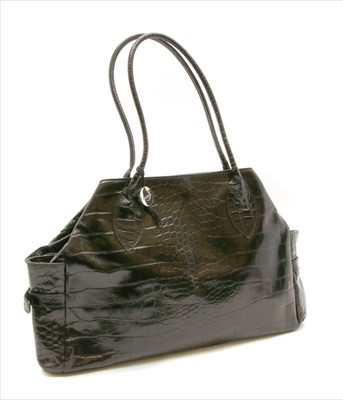 Lot 1014-A Furla crocodile embossed patent leather tote bag