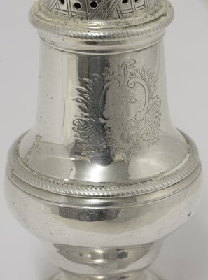 Lot 8-A George III silver sugar caster