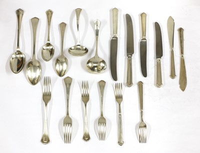 Lot 61 - A George V silver canteen of cutlery