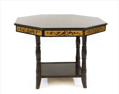 Lot 4 - An Aesthetic octagonal ebonised and gilt centre table