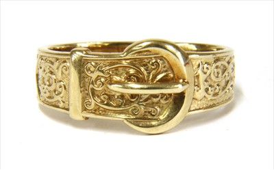 Lot 6-A 9ct gold buckle ring