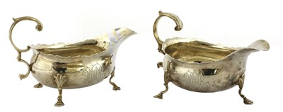 Lot 7-A pair of silver sauce boats