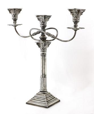 Lot 58 - A George V silver three-light Corinthian column candelabrum