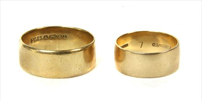Lot 3-Two 9ct gold flat section wedding rings