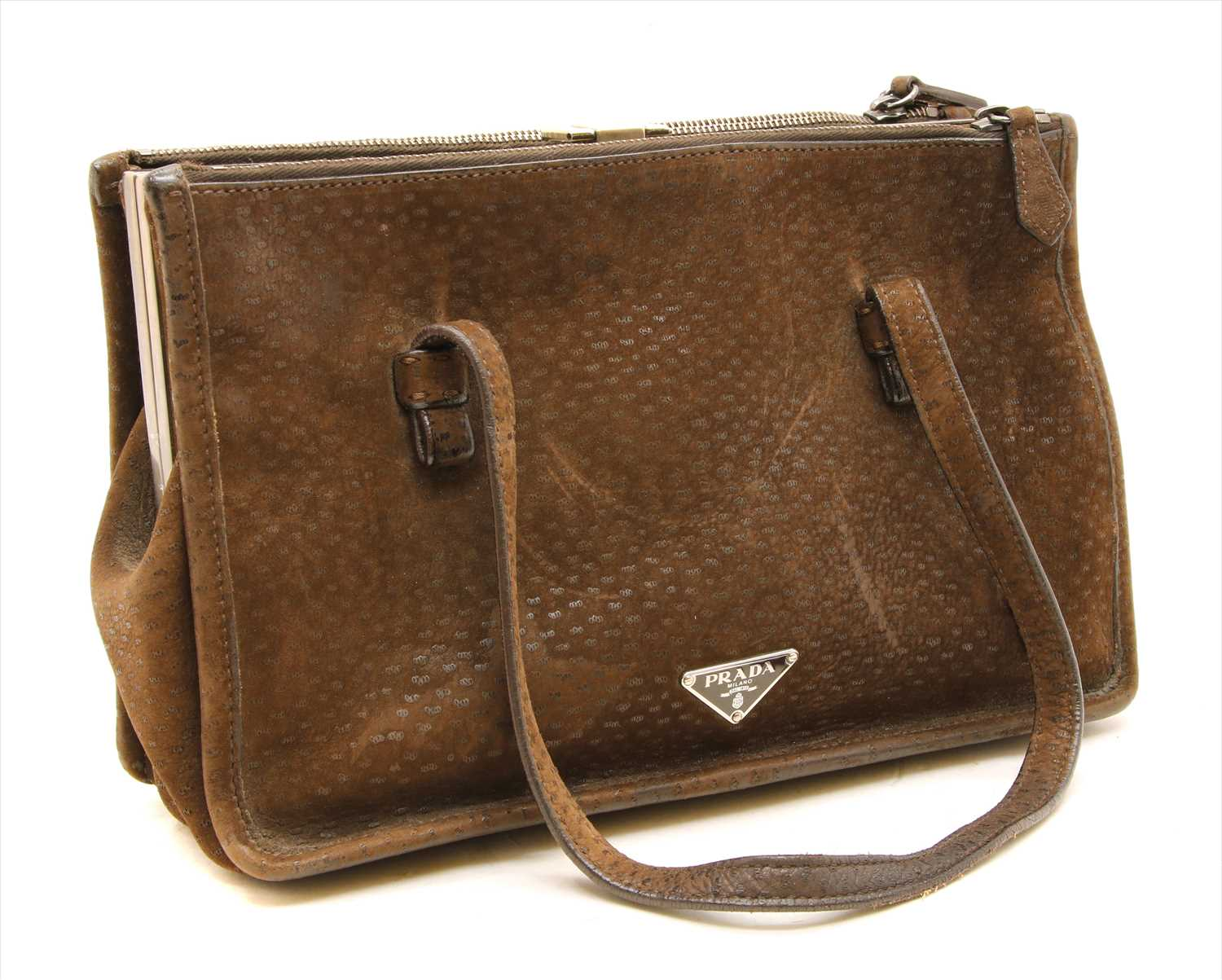 Lot 1015-A Prada semitracolla brown suede bag