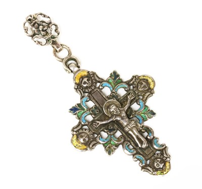 Lot 117 - A Continental antique silver and polychrome enamel crucifix