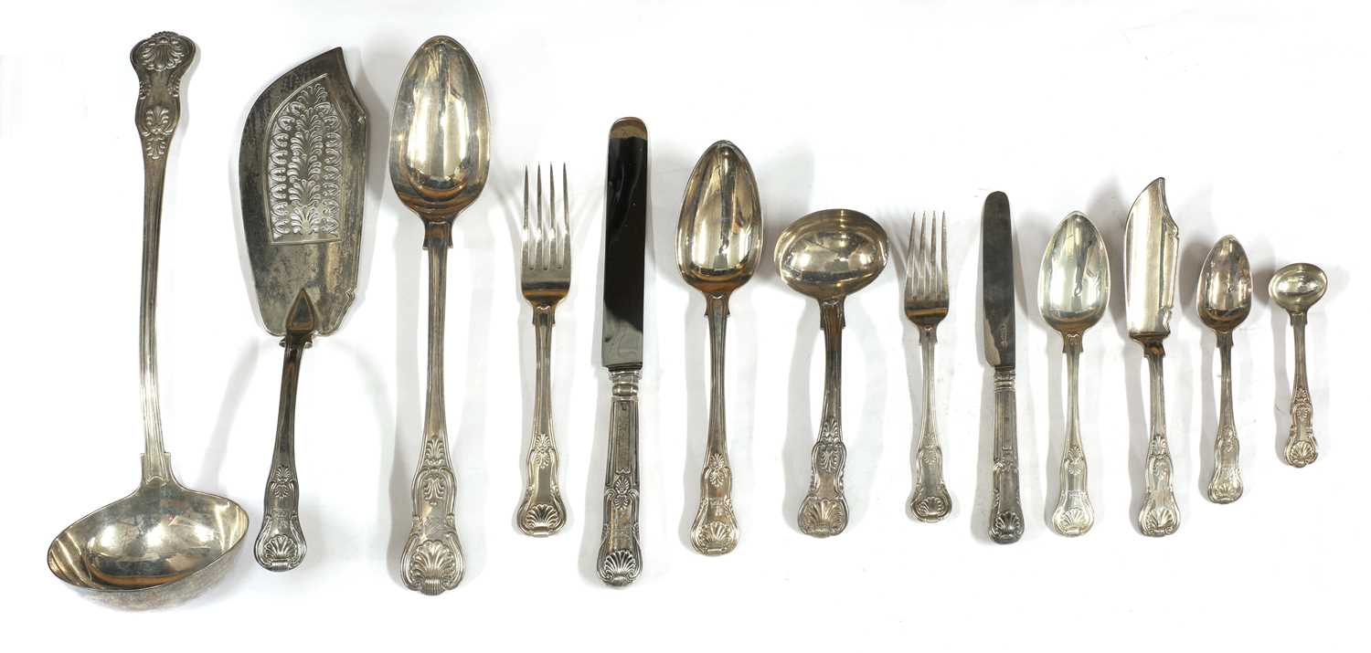 Lot 4-A large composite King's pattern silver cutlery set