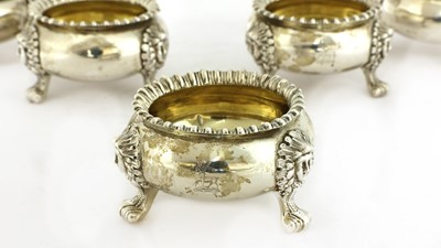 Lot 10-A set of six George III silver open salts