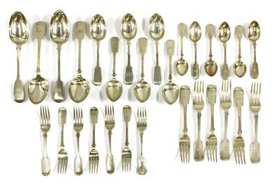 Lot 60 - A part set of silver fiddle pattern cutlery