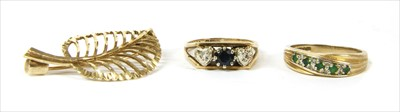Lot 36-A 9ct gold sapphire and diamond ring
