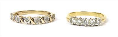 Lot 41-An 18ct gold five stone diamond ring