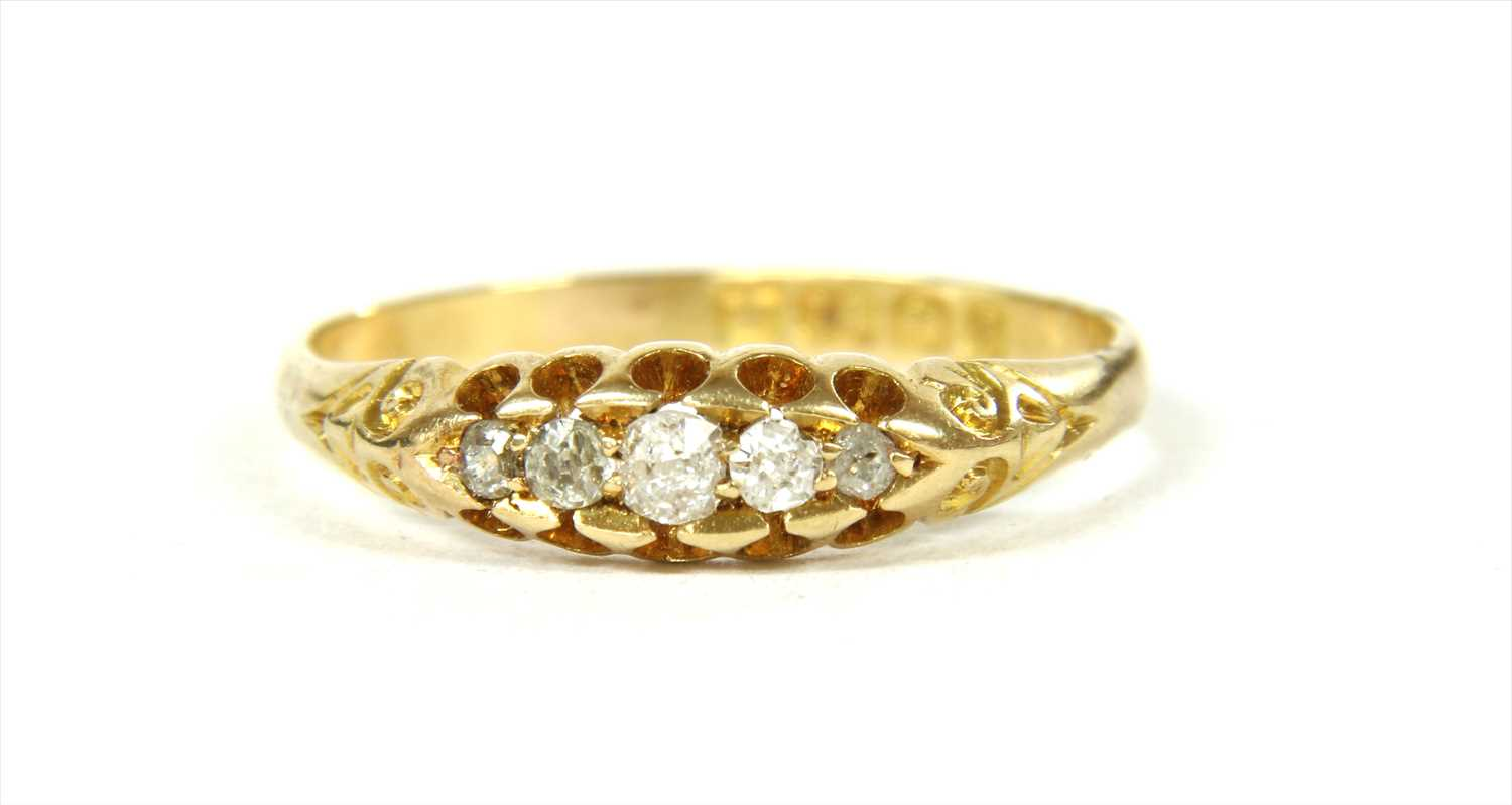 Lot 18-A Victorian 18ct gold boat shaped five stone diamond ring