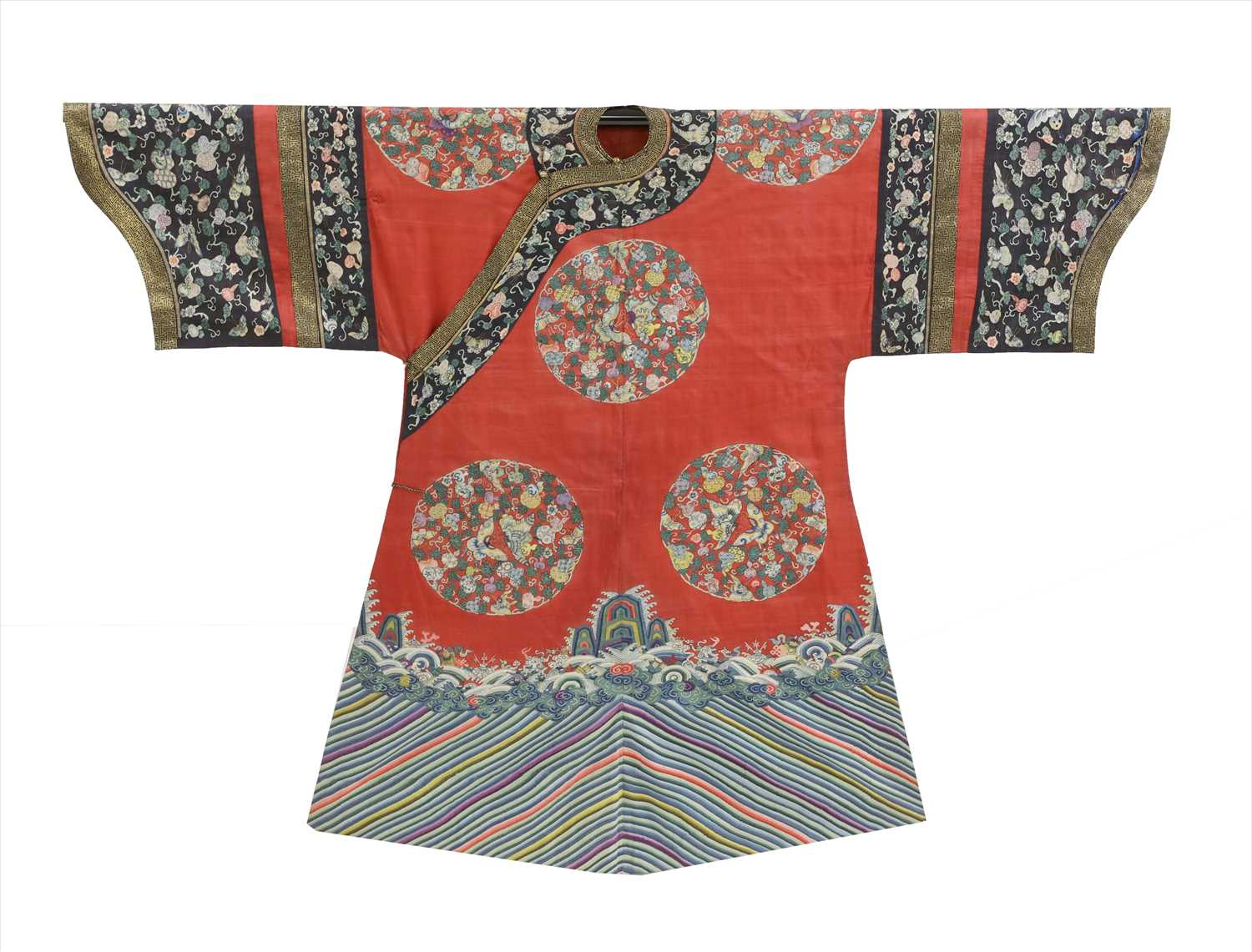 Lot 100 - A Chinese embroidered kesi red robe
